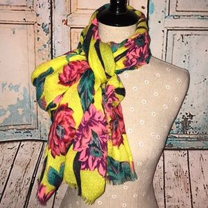 GAP~Vibrant Floral Cotton/Wool Blend Retro Scarf